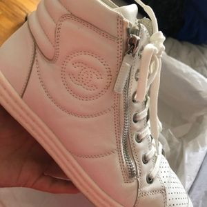 Chanel White High Top Sneaker